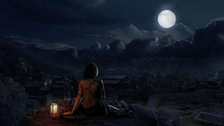 tattooed-woman-looking-at-the-moon-wallpaper-1